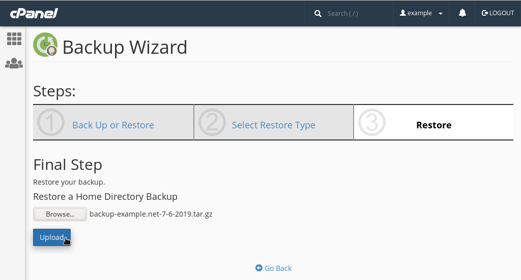 Restoring a backup via the Wizard