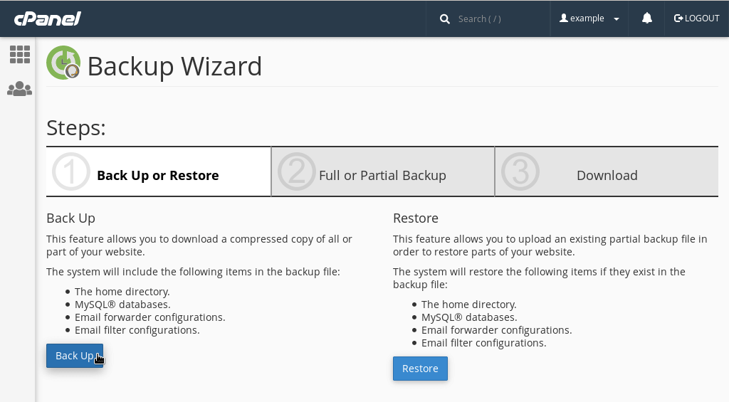 Making a backup via cPanel's Backup Wizard