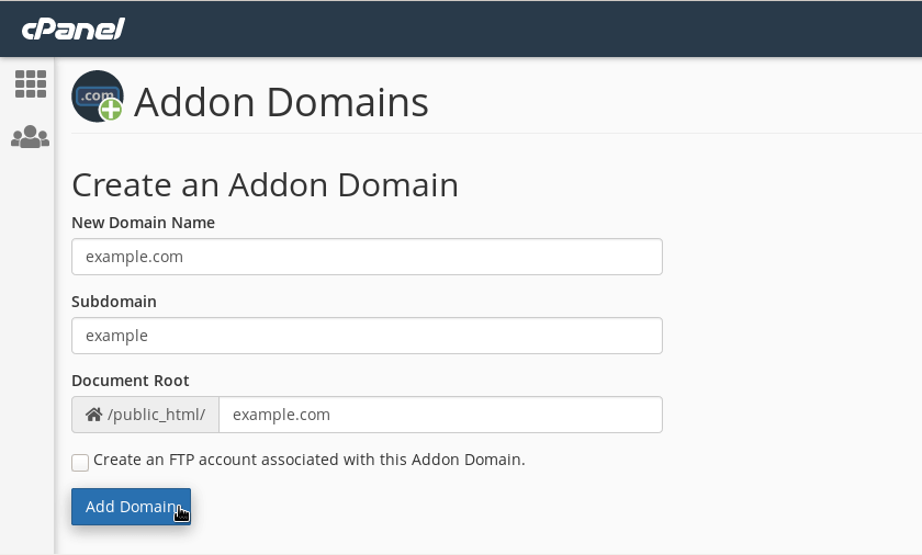 Creating an addon domain in cPanel.