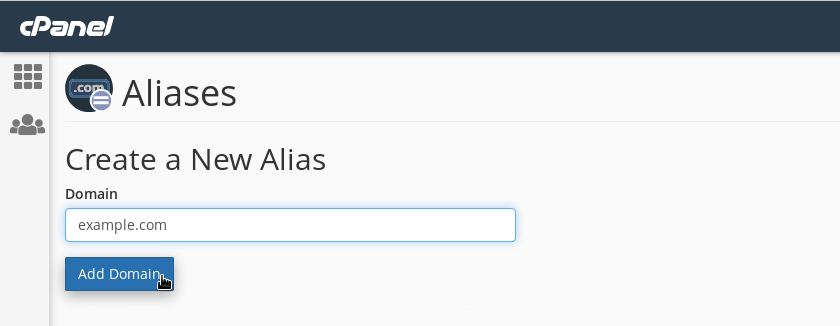 Creating the alias 'example.com'.