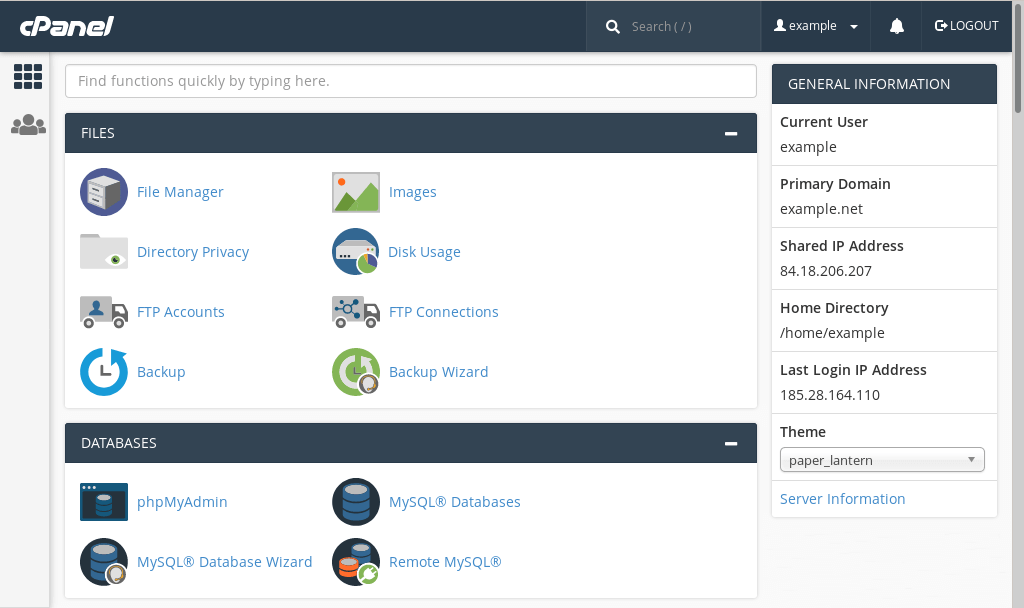 A screenshot of cPanel's main screen.