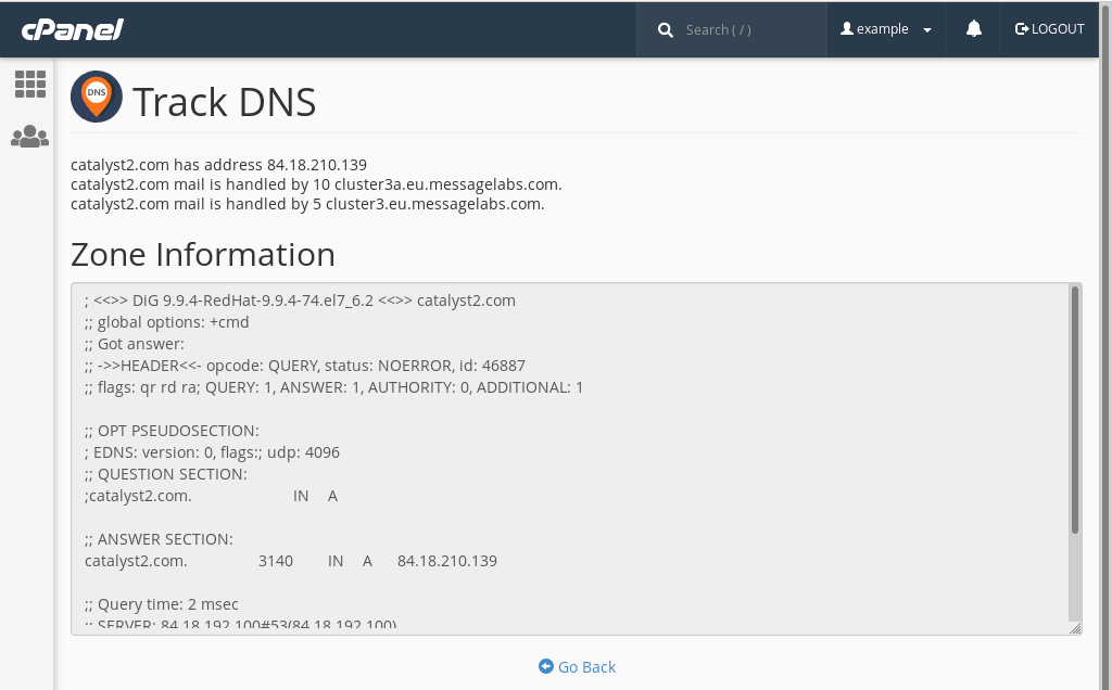 cPanel's 'Track DNS' tool, which uses the dig utility to retrieve DNS records for a domain.