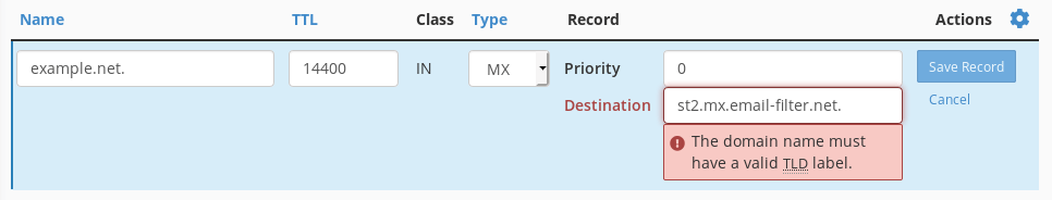 Trying to add a destination with a trailing dot results in an error message.