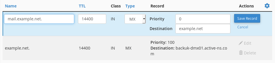 When you edit an MX record you can change the name, TTL, priority and destination.