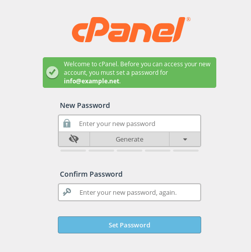 The cPanel login page where a user can set their email password.