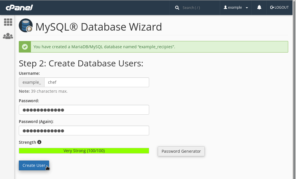 Creating a new database user via the wizard.