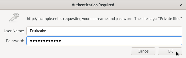 An 'Authentication Required' dialogue window.
