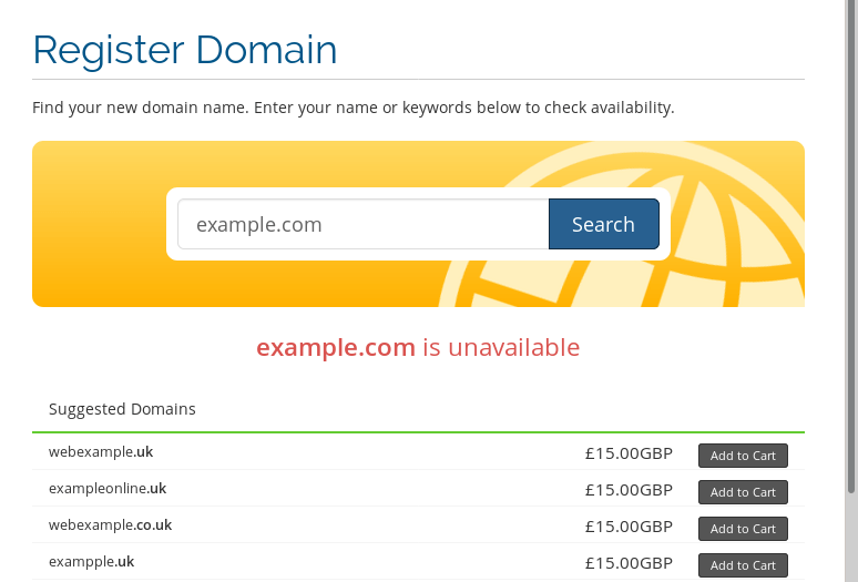 The domain example.com is unavailable and therefore can't be registered.