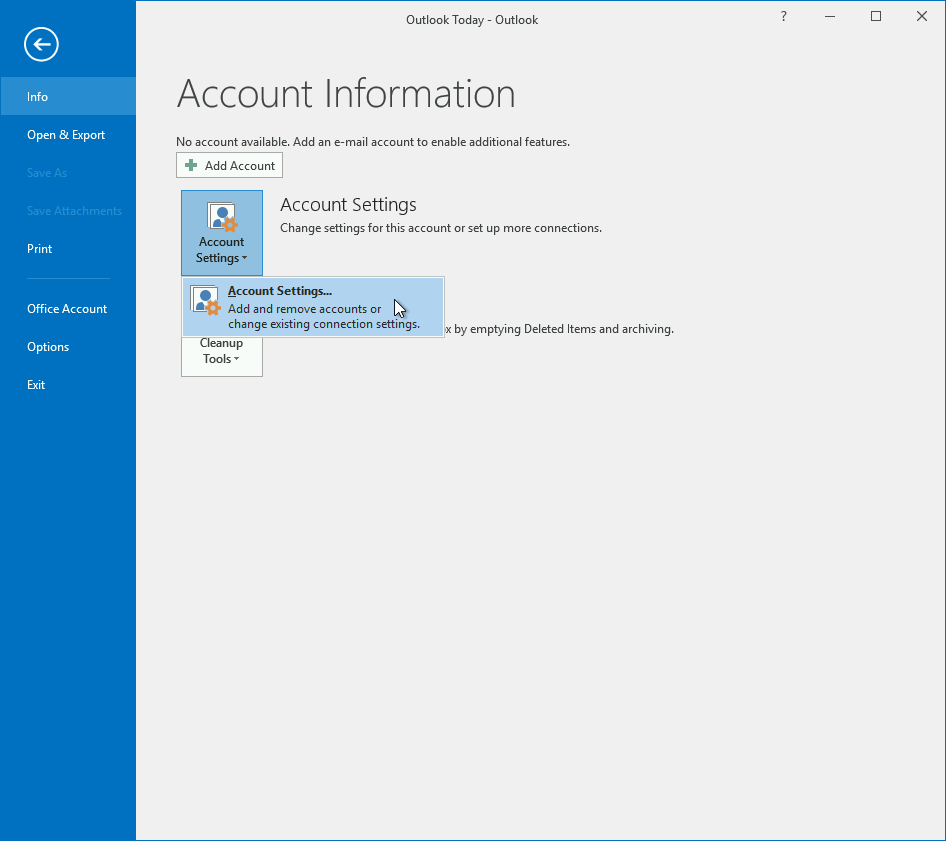 Accessing the Account Settings menu in Outlook 2016.