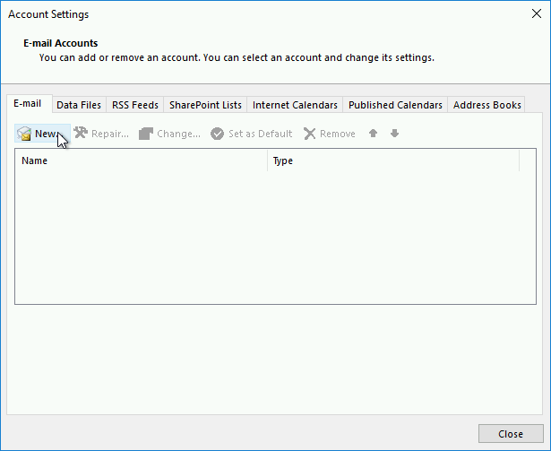 Adding a new mailbox in Outlook 2016 via the Email tab in the Account Settings window.