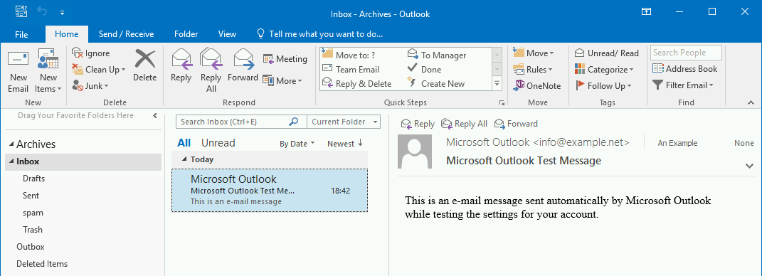 The Archives mailbox in Outlook contains archived emails.