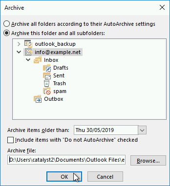 The archiving options in Outlook 2016 let you archive emails based on age criteria.