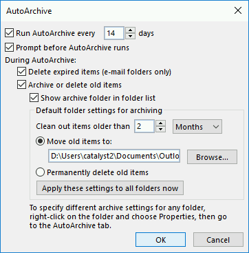 The auto-archiving settings in Outlook 2016.