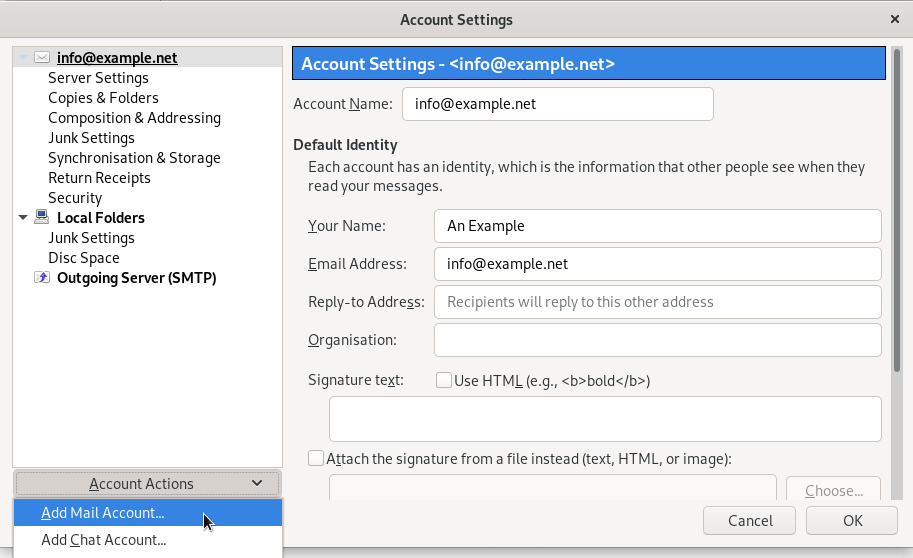 Adding a new email account in Thunderbird via the Account Settings menu.