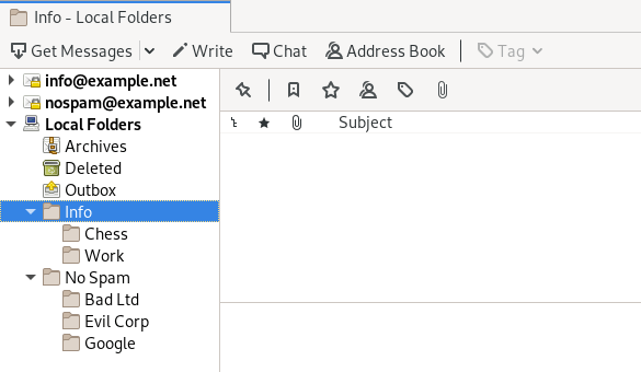 Custom folders under Local Folders in Thunderbird.