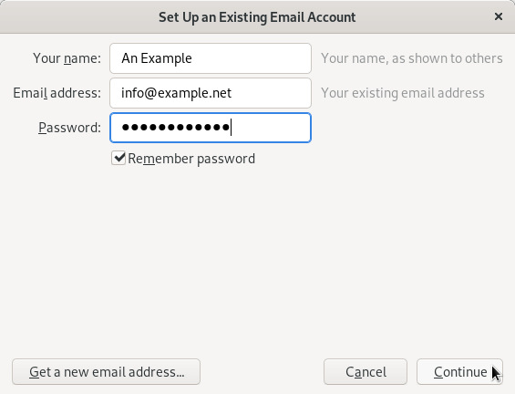 Entering user information in the Thunderbird email client.