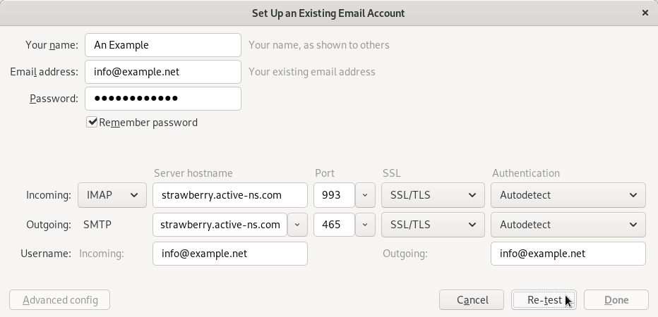 Manually configuring the email settings in Thunderbird.