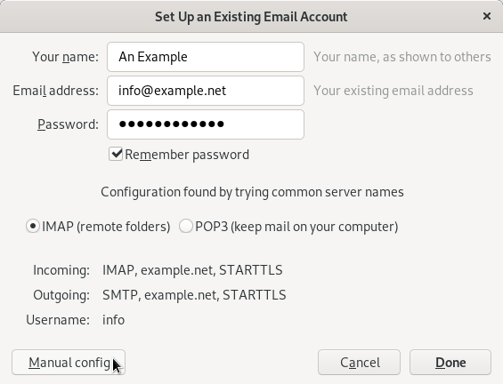 Thunderbird tries to automatically determine the correct email settings. It usually gets these details wrong.