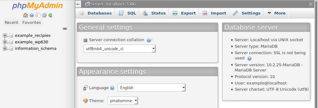 phpMyAdmin's interface, with the databases listed in the left-hand pane.