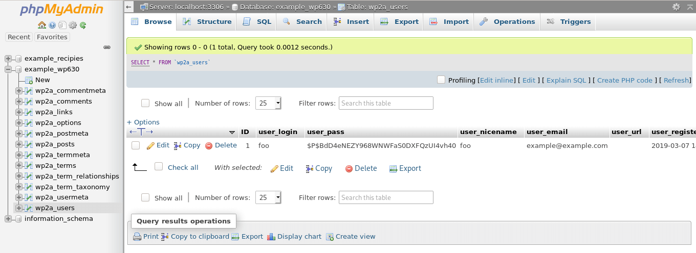 Viewing all the fields in the users table.