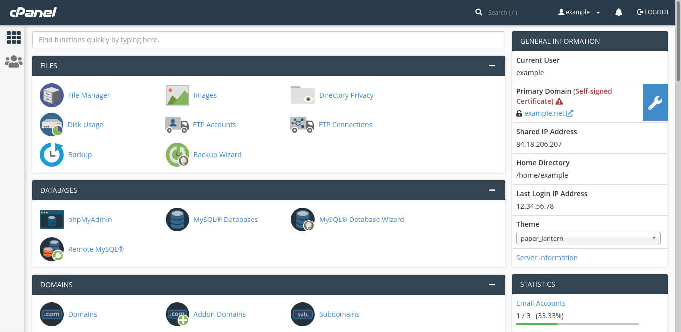 cPanel's home page lists all available options.