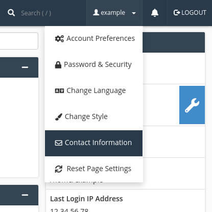 Accessing the contact information page in cPanel.