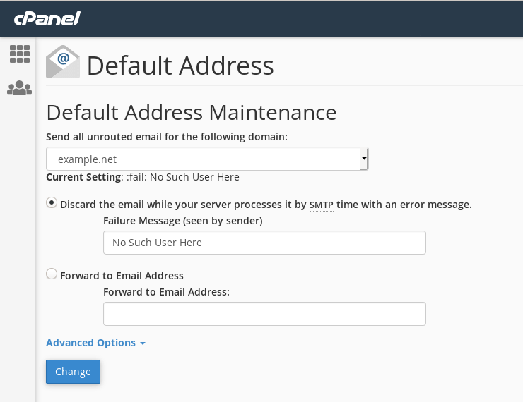 cPanel's 'Default Address' interface.