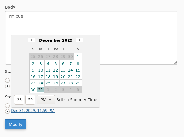 You can enter a date by selecting it from a pop-up calendar.