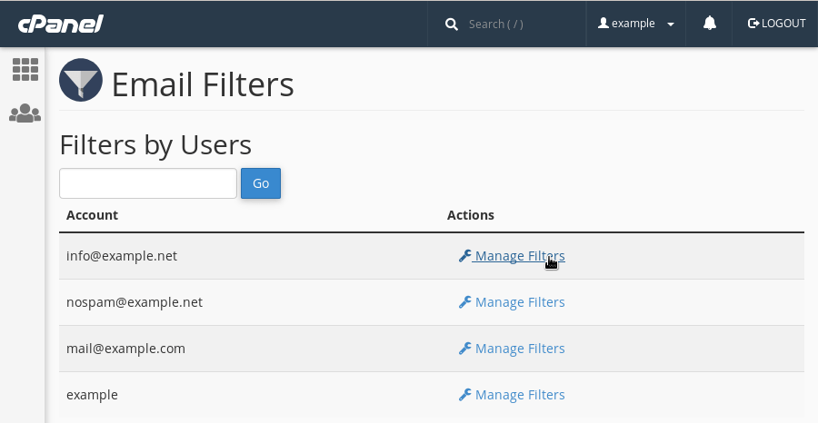 The table with email accounts on cPanel's 'Email Filters' page. For each email address there is a link to manage filters.
