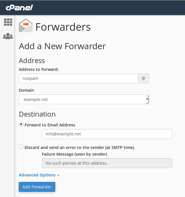Adding an email forwarder for nospam@example.net.
