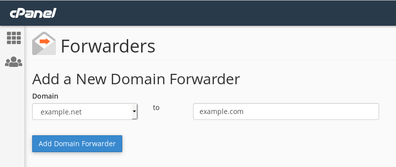 Adding a domain forwarder from example.net to example.com.