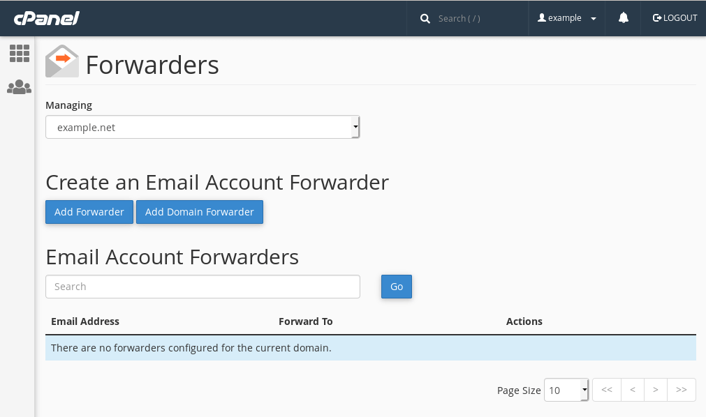 cPanel's 'Forwarders' interface, which is used to create and manage email forwarders.