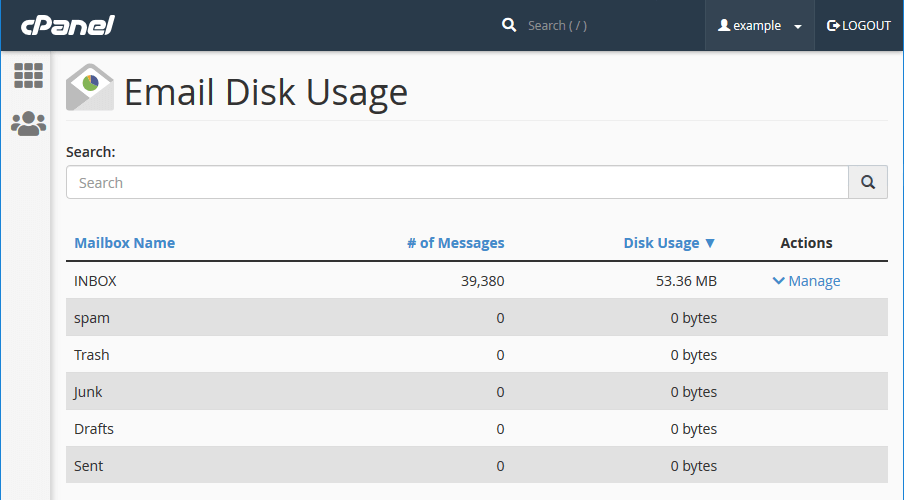 cPanel's 'Email Disk Usage' interface lets you quickly see how much disk space email folders are using.