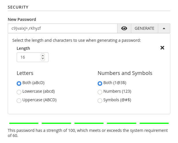 Generating a new email password in cPanel.