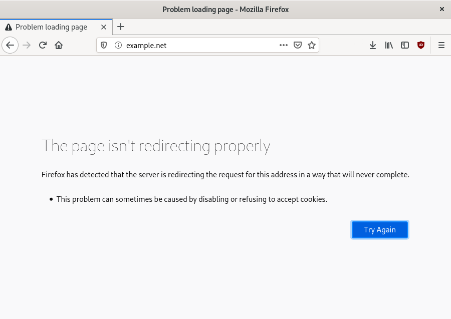 A 'page isn't redirecting properly' error in Firefox.'
