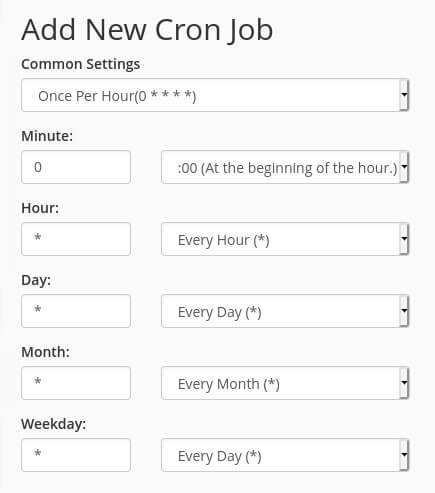 To run a cron job once an hour you can use the interval '0 * * * *').