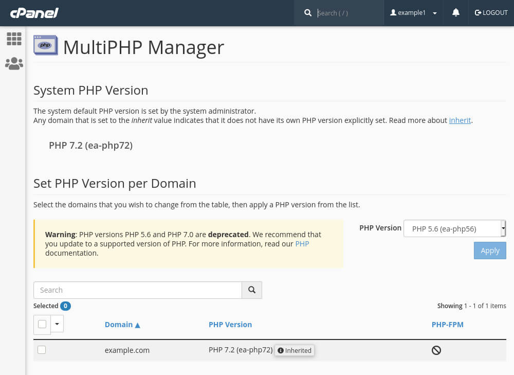 cPanel's MultiPHP manager lets you change the PHP version for an individual domain.