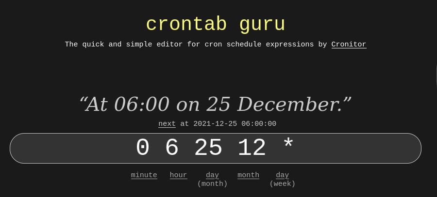 You can generate the time intervals for a cron job via the crontab.guru website.
