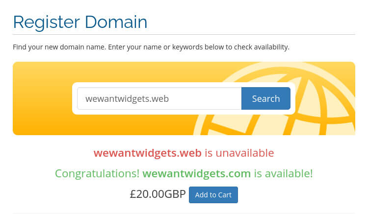 """Our """"Register Domain"""" page lets you check if a domain is available and how much it costs."""