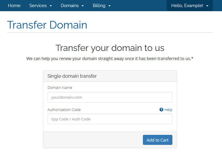 Transferring a domain to Catalyst2 via your billing control panel.