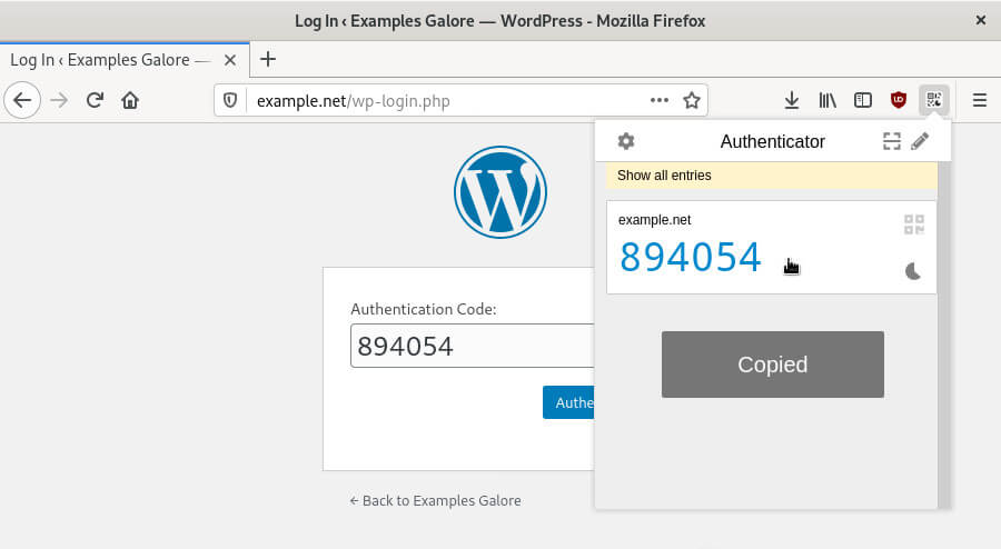 The 'Authenticator' multi-factor authentication browser plugin in Firefox.