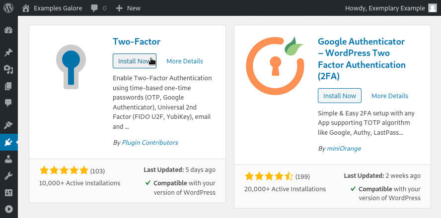 Installing the Two Factor plugin for WordPress.
