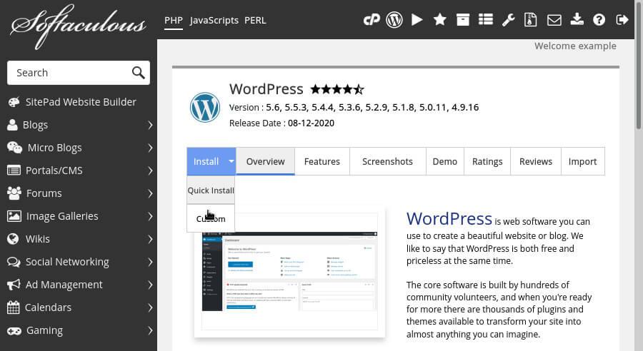 Selecting a custom WordPress install in Softaculous.