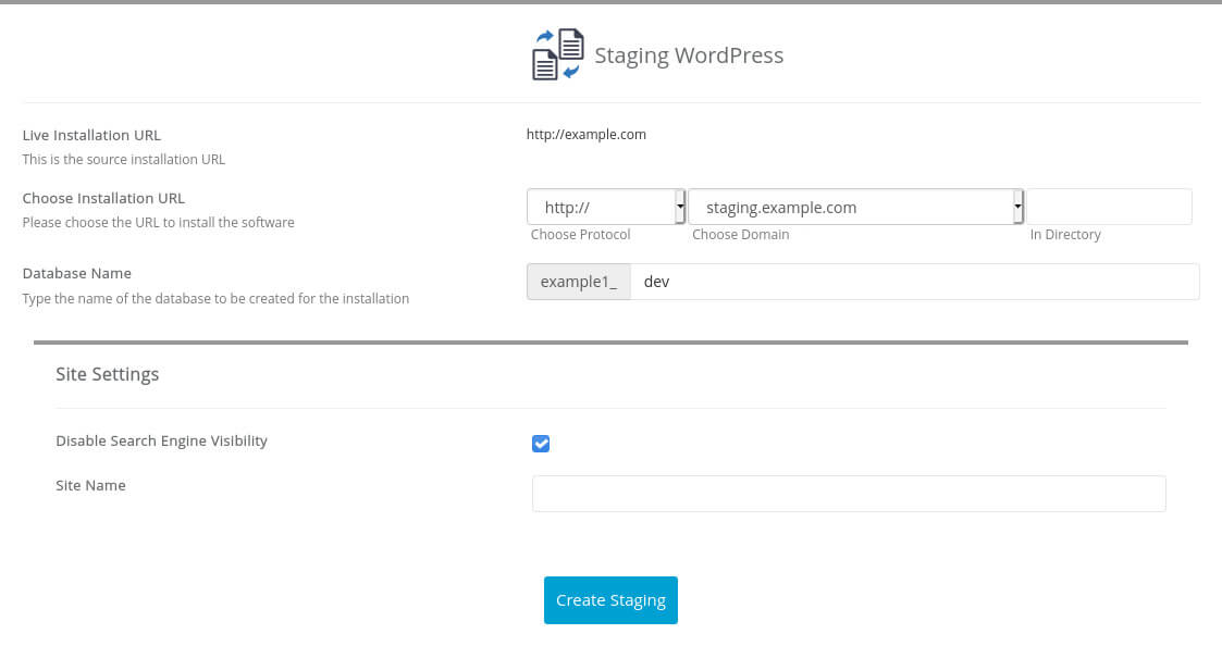 Creating a staging version of your WordPress site works just like cloning a WordPress instance. You can set the WordPress URL and tweak a few basic settings.