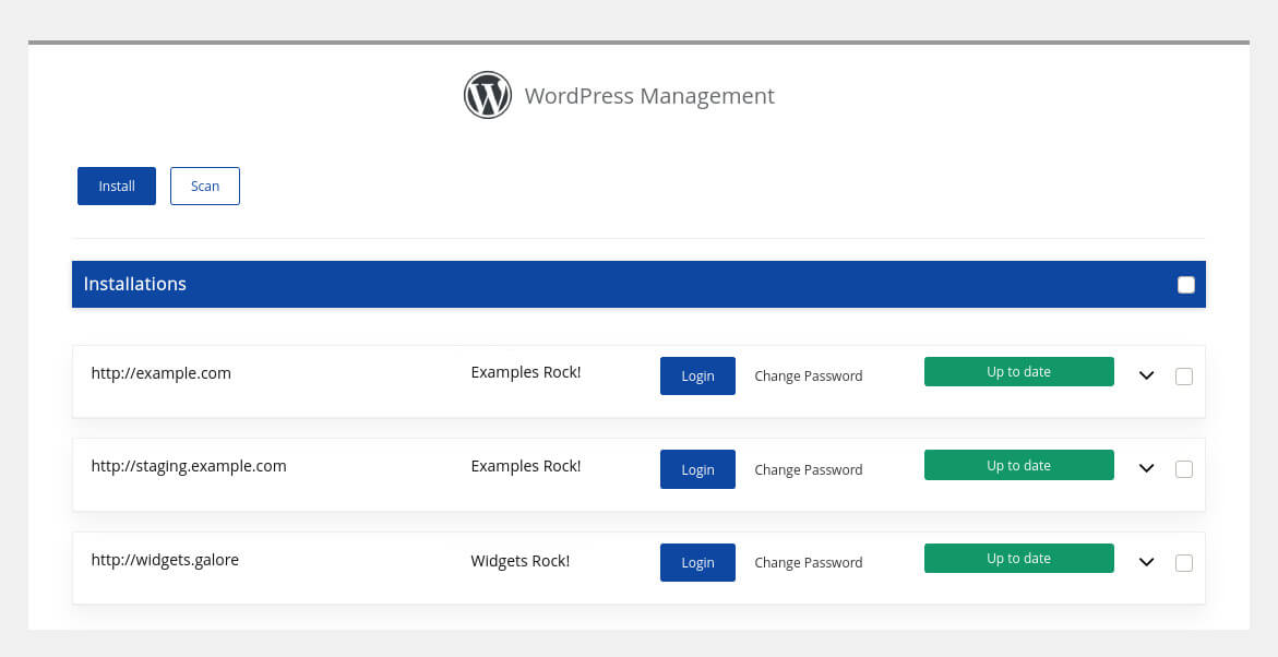 The Softaculous WordPress manager lists all WordPress installations on our cPanel account.
