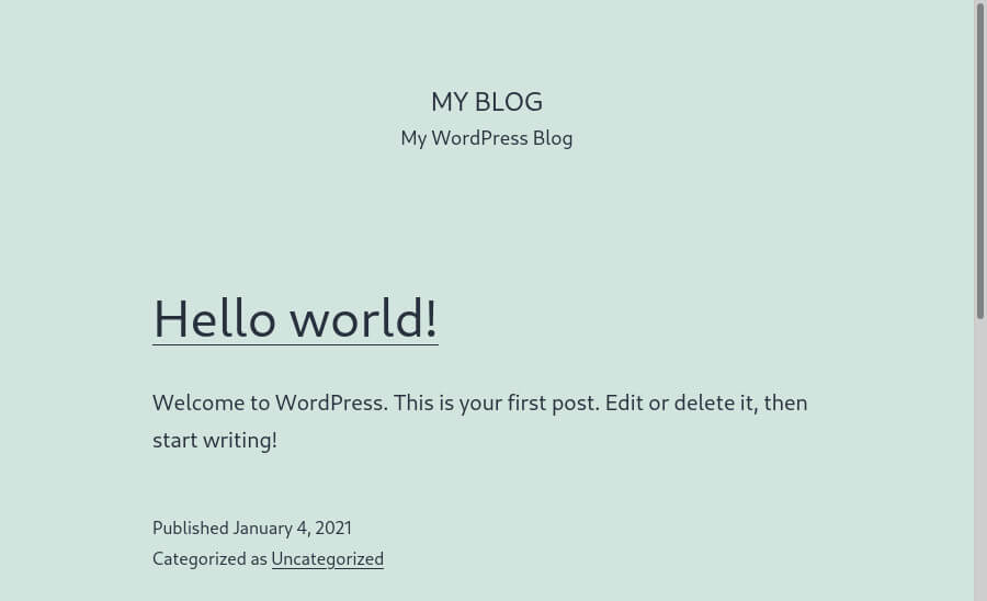 Our new WordPress website, installed via Softaculous.