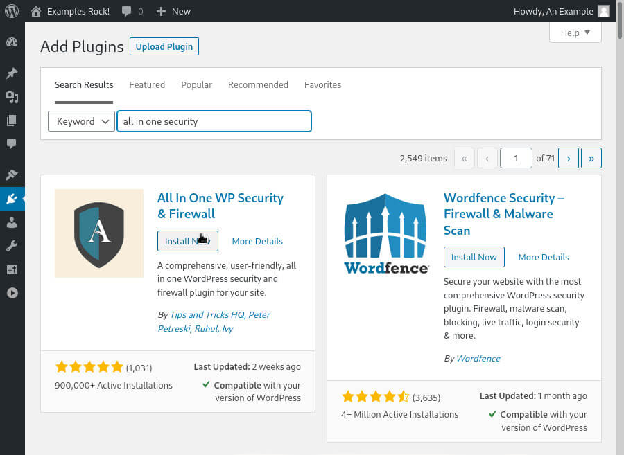 You can search for and install plugins via the Plugins page in the WordPress dashboard.