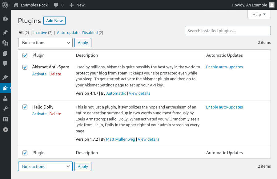 The WordPress plugin page lists all installed plugins. You can activate, deactivate and remove plugins via this page.