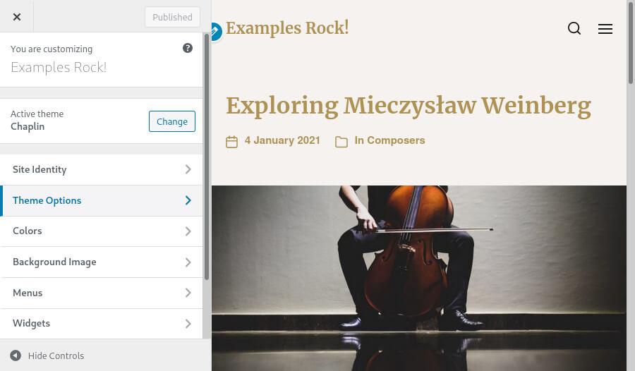 Customising the 'Chaplin' theme via the WordPress dashboard.
