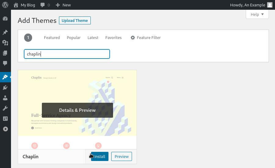 Installing the free 'Chaplin' theme via the WordPress dashboard.